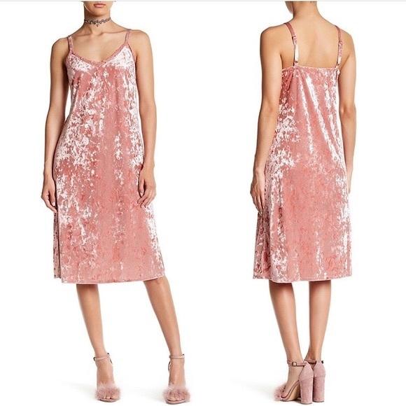 56da21d2a71f bobeau Dresses | Crushed Velvet Midi Slip Dress Pink Vneck M | Poshmark